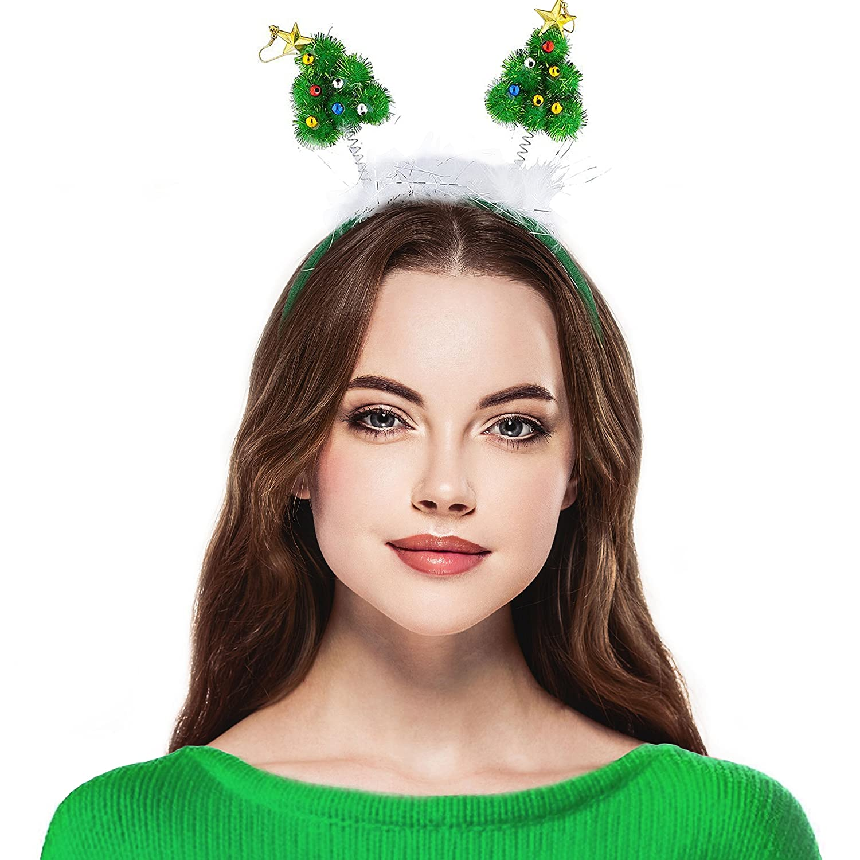 Lux Accessories Green Festive Christmas Xmas Tree Star Antenna Headband
