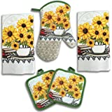 American Mills Yellow Sunflower Decor 5 Piece Printed Kitchen Linen Set Includes Towels Pot Holders Oven Mitt