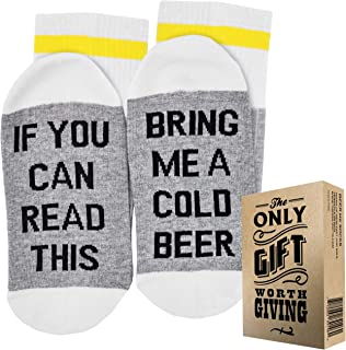 BEER SOCKS + GIFT BOX If you can read this bring me a cold Beer Best fathers day gifts from daughter, gift for dad, men birthday gifts ideas, fathers day gifts from son and beer gifts