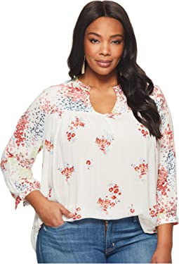 Lucky Brand Plus Size Mixed Print Peasant Top