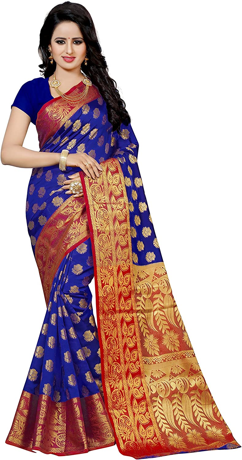 Dealsure Cotton Silk Saree with Blouse Piece (DsS824601_Multicolor_Free Size)