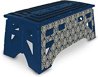 eXpace Folding Step Stool, 20-Inch Extra Wide Heavy Duty, Non-Slip for Indoor and Outdoor Use, Adults and Kids up to 500lb, Royal Blue Damask