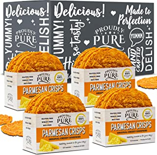 Proudly Pure Parmesan Cheese Crisps - Keto Snacks Zero Carb Crunchy Delicious Healthy 100% Natural Aged Cheesy Parm Chips Wheat, Soy & Gluten Free Keto Crackers Low Carb Snack (Original 10oz 4Pk)