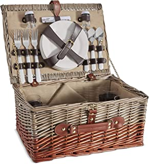 VonShef 4 Person Wicker Picnic Basket Set – Includes Flatware/Tableware Inc. Dinner Plates, Wine Glasses, Cotton Napkins, Cutlery – Perfect for Outdoor Family Fun