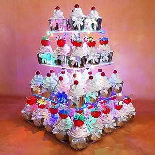 Soporte para magdalenas 2 Juegos de 1-Tier Cart/ón Cupcake Stand para exhibir galletas en la boda Fiesta de cumplea/ños de Baby Shower de Navidad Azul y rosa fuerte