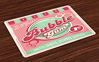 Lunarable 1950s Place Mats Set of 4, Bubble Gum Tasty Candy Lollipop Sugar Advertise Poster Style, Washable Fabric Placemats for Dining Table, Standard Size, Pink Magenta