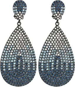 Tear Drop Disk Pave Clip Earrings; Elements Of Swarovski
