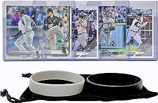 Chicago White Sox Baseball Cards: Yoan Moncada, Leury Garcia, Jose Abreu, Eloy Jimenez, Carlos Rodon ASSORTED Trading Card and Wristbands Bundle