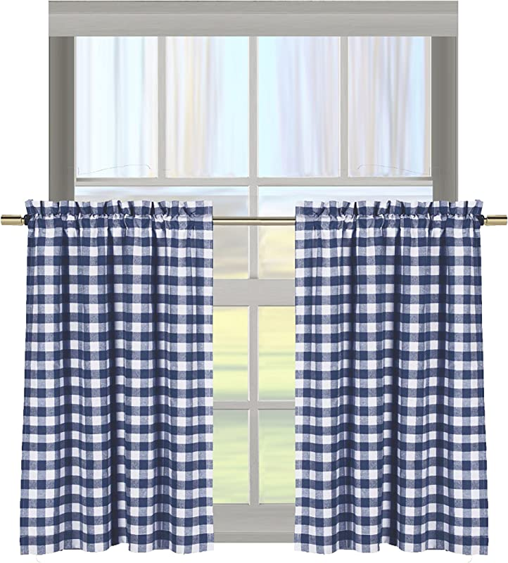 Bathroom And More Gingham Check Kitchen Window Curtain Cafe Tiers Set Plaid Cotton Rich 29 W X 36 H Each Panel Navy