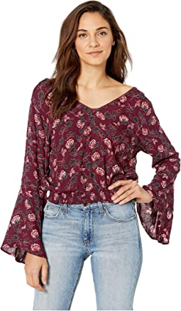 Floral Long Sleeve Top with Smocked Waist