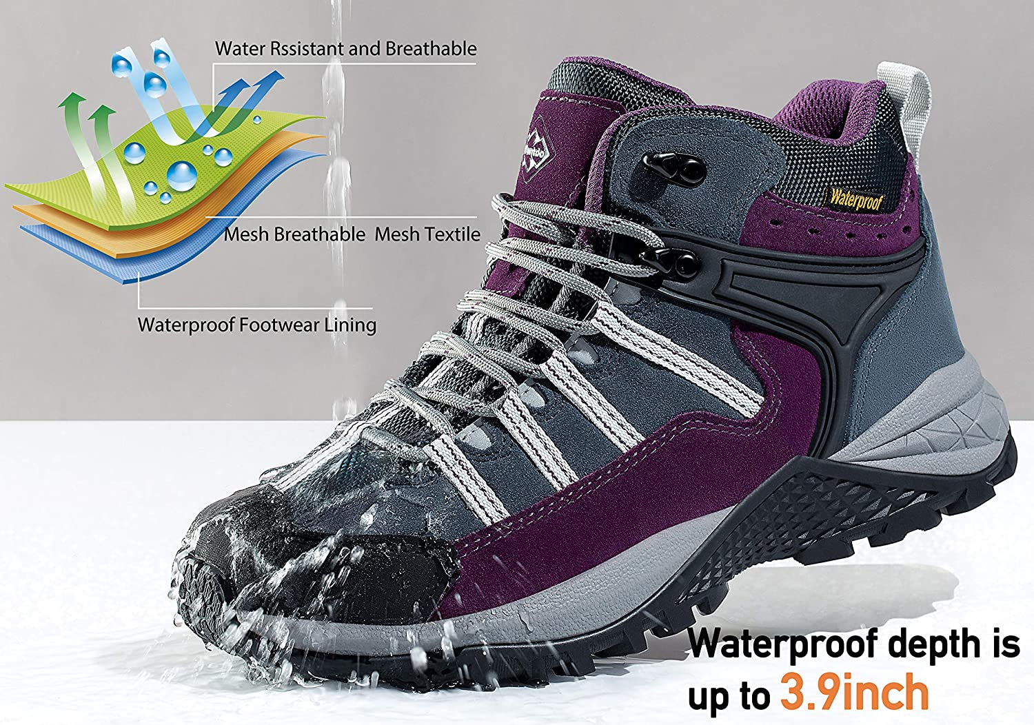 Wantdo Womens Waterproof Hiking Boots Winter Snow Boots Non Slip Work Shoes Winter Safety Footwear