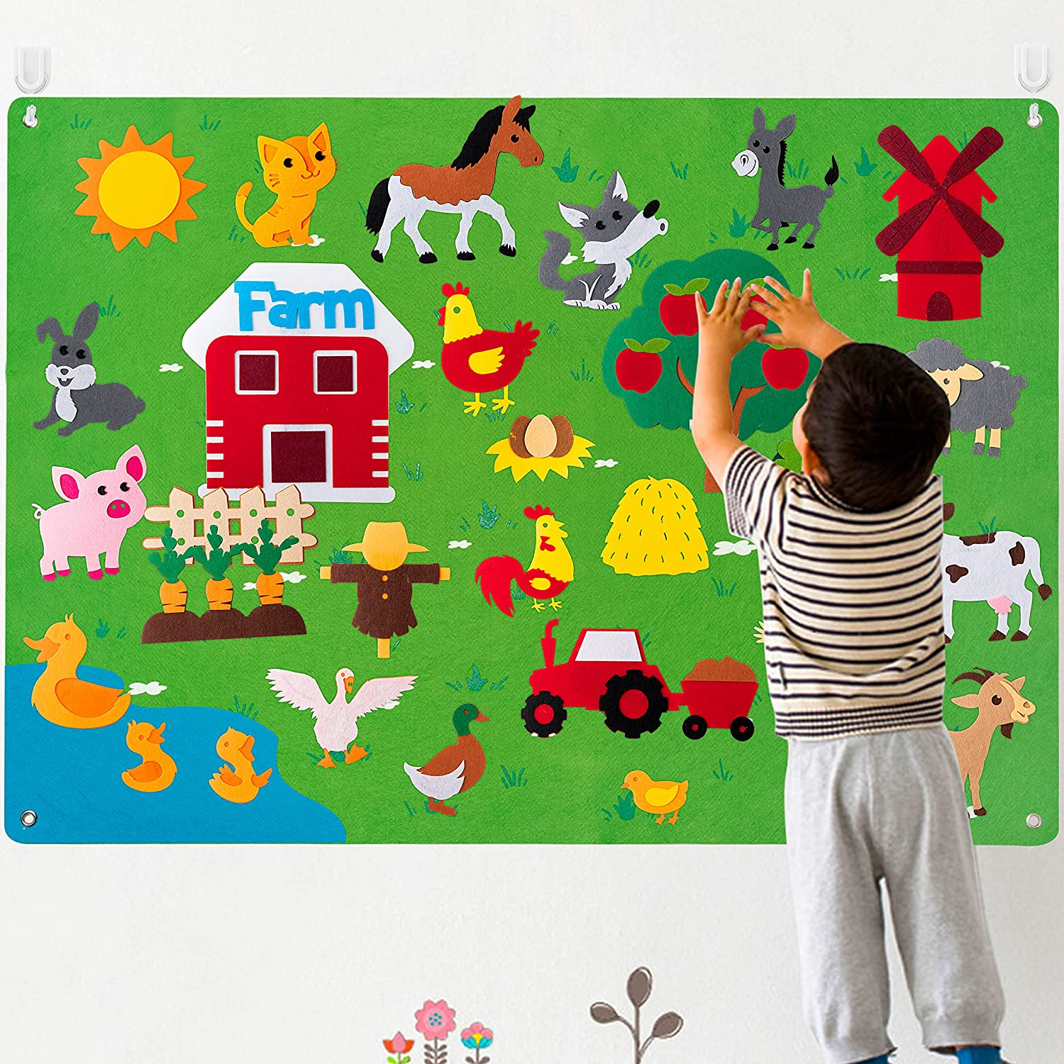 WATINC Farm Animals Felt Story Board Set 3.5Ft 38Pcs Preschool Farmhouse Themed Storytelling Flannel Barnyard Domestic Livestock Early Learning Interactive Play Kit Wall Hanging Gift for Toddlers Kids