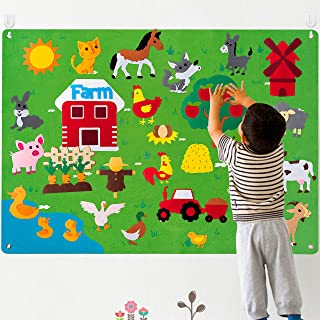 WATINC Farm Animals Felt Story Board Set 3.5Ft 38Pcs Preschool Farmhouse Themed Storytelling Flannel Barnyard Domestic Liv...