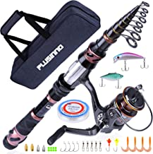 PLUSINNO Fishing Rod and Reel Combos, Toray 24-Ton Carbon Matrix Telescopic Fishing Rod Pole, 12 +1 Shielded Bearings Stainless Steel BB Spinning Reel, Saltwater and Freshwater Fishing Gear Kit