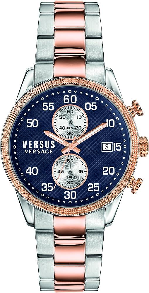 Versus versace orologio cronografo da uomo in acciaio inossidabile con placcatura ip in oro rosa S66030016