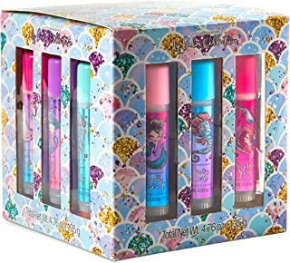 Scented Lip Gloss Set - Cube Pack of 9 Mermaid Themed Roll On Flavored Mineral Oil & Beeswax Lip Balm Tubes Pack for Women or Girls by Tri-Coastal Design