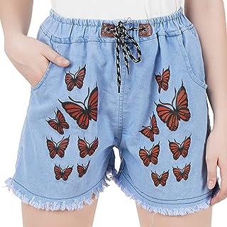 WILFREDO Butterfly Denim Shorts for Women's (Pack of 1)