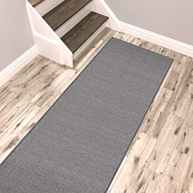 Kapaqua Solid Grey Runner Rug Non Slip Rubber Backed Pet Friendly 2x8 Kitchen Hallway Carpet Runner