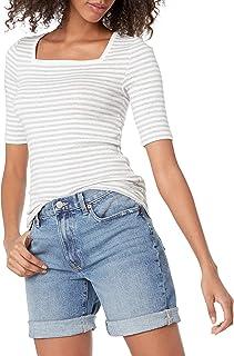 Amazon Essentials Women's Slim Fit Half Sleeve Square Neck T-Shirt