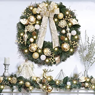 Valery Madelyn Pre-Lit 30 Inch Elegant Champagne Gold Christmas Wreath for Front Door with Shatterproof Ball Ornaments, Ribbon, Pine Cones and Artificial Flowers, Battery Operated 40 LED Lights