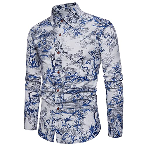 9256e622b8bae LEFTGU Men's Printed Long Sleeve Slim Fit Button-Down Multicolored Linen Casual  Shirts