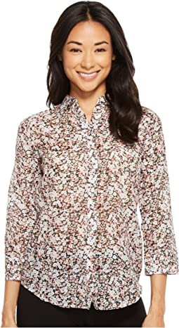LAUREN Ralph Lauren Petite Floral Cotton-Silk Shirt