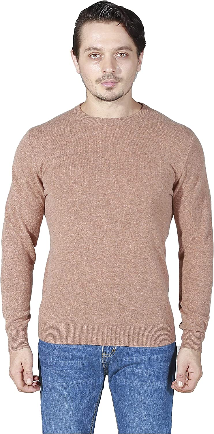 Wosica Men's 100% Cashmere Knitted Pullover with Long Sleeve Crew Neck