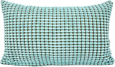 YOUR SMILE Cozy Bolster Pillow Cover Case for Couch Sofa Bed Comfortable Supersoft Corduroy Corn Striped Both Sides 12 X 20 Inches,Teal