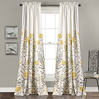 Lush Decor Aprile Room Darkening Curtains Floral Leaf Design Window Panel Drapes Set for Living, Dining, Bedroom (Pair), 84