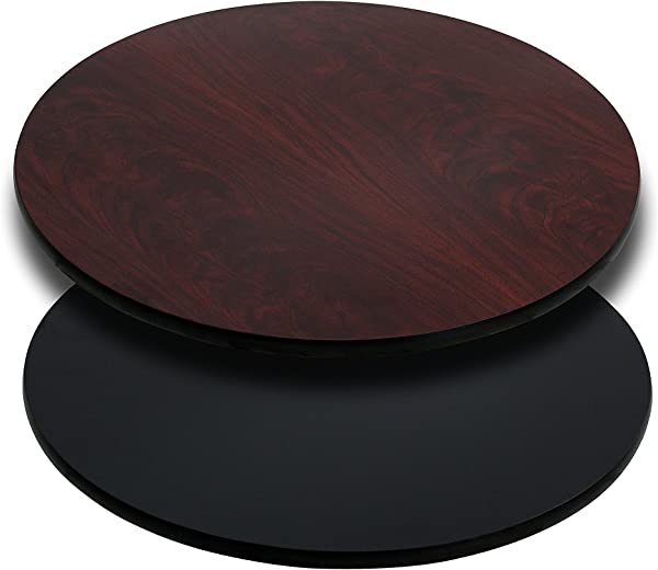 Flash Furniture 24 Round Table Top With Black Or Mahogany Reversible Laminate Top