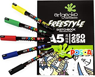 Artgecko A5 Freestyle Sketchbook - White Bleedproof Paper - 250gsm - 10 Sheets + PC-1MR Basics Set of 5