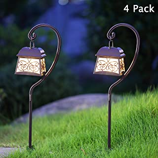 Maggift 22 Inch Hanging Solar Lights Multipurpose Shepherd Hook Lights with 4 Shepherd Hooks Outdoor Solar Coach Lights (4...