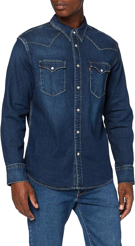 Levi`s barstow western, camicia per uomo, 100% cotone, maniche lunghe 85744B