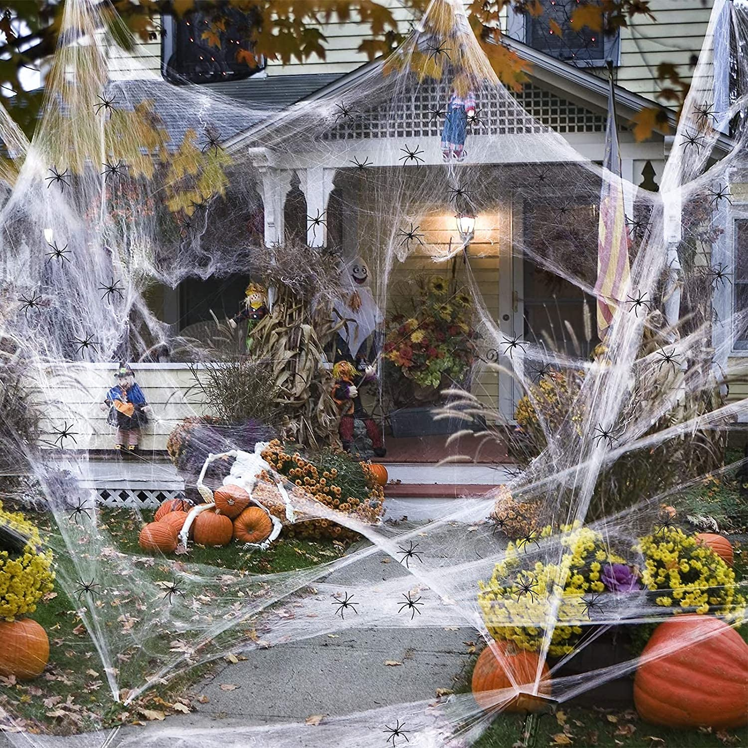 New sales 5 popular 1000sqft Spider Webs Halloween Decorations Extra Sp with Fake 30