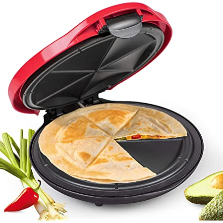 Taco Tuesday 10-Inch 6-Wedge Electric Deluxe Quesadilla Maker with Stuffing Latch, 10 inch, Red