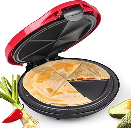 NOSTALGIA 10-Inch Deluxe Quesadilla Maker with Stuffing Latch