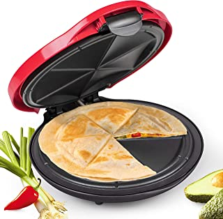NOSTALGIA EQM10 Deluxe 10-Inch 6-Wedge Electric Quesadilla Maker with Extra Stuffing Latch, 10 inch, Red