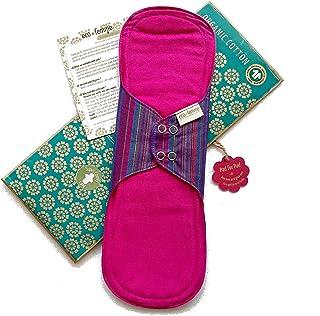夜用スーパー 南インド「Eco Femme」布ナプキン 洗えるオーガニックコットン(肌面色付き)防水あり・内側に7層のフランネル使用 GOTS認定品 Super Comfy Pad - Vibrant organic Cloth Sanitar...