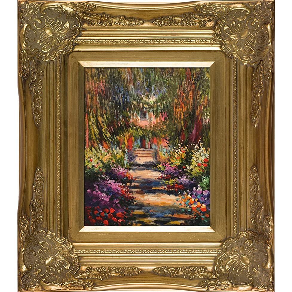 overstockArt Garden Path at Giverny Oil Painting with Victorianゴールドフレームby Monet