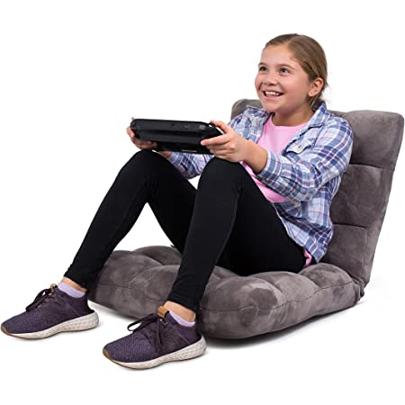 BIRDROCK HOME Adjustable 14-Position Memory Foam Floor Chair - Pillow Gaming Chair - Comfortable Back Support - Cushion Dorm Rocker - Gamer - Comfy for Reading Game Meditating - Fully Assembled - Grey