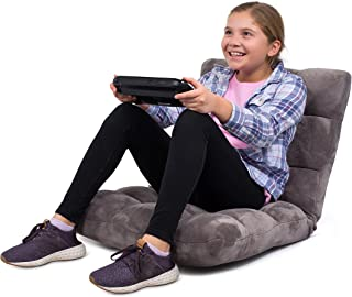 BirdRock Home Adjustable 14-Position Memory Foam Floor Chair - Padded Gaming Chair - Comfortable Back Support - Rocker - Great for Reading Games Meditating - Fully Assembled - Grey
