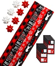 American Greetings Christmas Wrapping Paper Kit with Gridlines, Bows and Gift Tags, Red, Black and White, Plaid, Reindeer and Snowflakes (41-Count, 120 sq. ft.)
