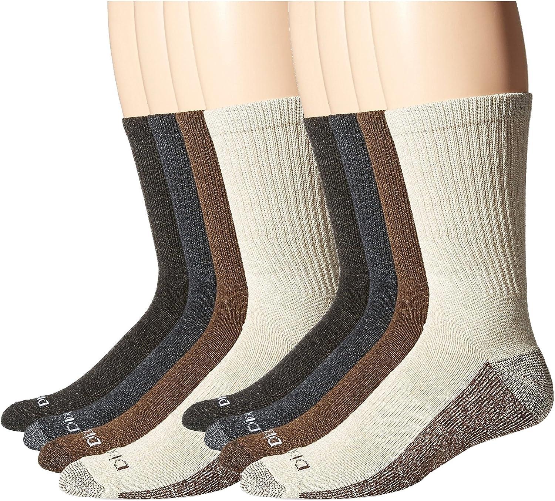 Dickies Men's Medium Weight Marled Accent Moisture Control Crew Socks, 8 Pair