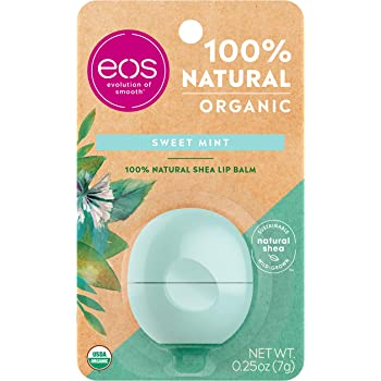 eos USDA Organic Lip Balm - Sweet Mint | Lip Care to Moisturize Dry Lips | 100% Natural and Gluten Free | Long Lasting Hydration | 0.25 oz