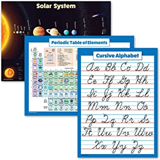 """3 Pack - Solar System Poster + Periodic Table of The Elements for Kids + Cursive ABC Alphabet Chart (Laminated, 18"""" x 24"""")"""