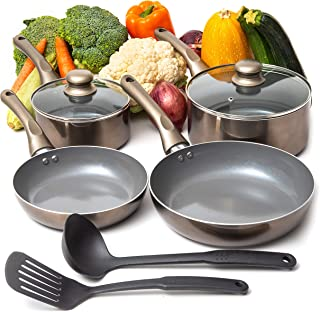 Moss & Stone 8 PCS Nonstick Cookware Set, Aluminum Pots and Pans with Cooking Utensils, Induction Cookware, Pots and Pans ...