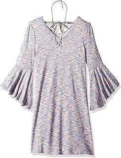 Amy Byer Girls Belted Allover Lace Bellsleeve Dress