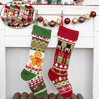 BHD BEAUTY 2019 Personalized Large Knitting Family Christmas Stocking Heavy Yarn for Ornament Decorations 27.5 inches Gingerbread Man&Knight (2 Pack)