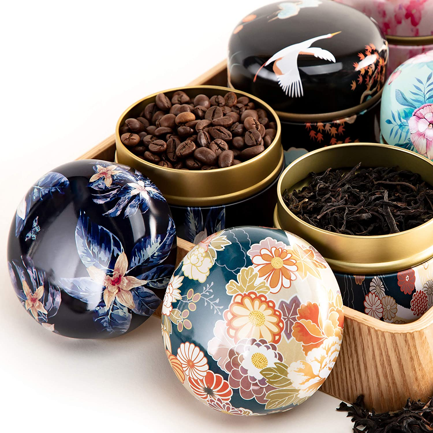 Mini Tea Storage Container Tea tins WEMEGA Tea coffee Container Candy Chocolate Sugar Spices Herbs and Spices Perfect For Keeping Dry and Storing Loose Tea Leaves 8pack