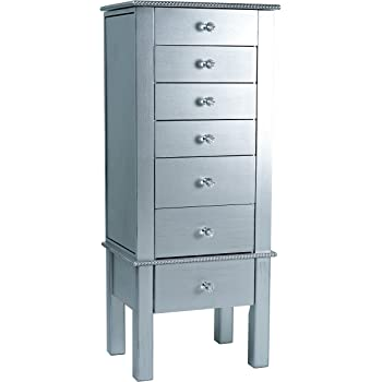 Alveare Home Helena Standing Jewelry Armoire, Silver